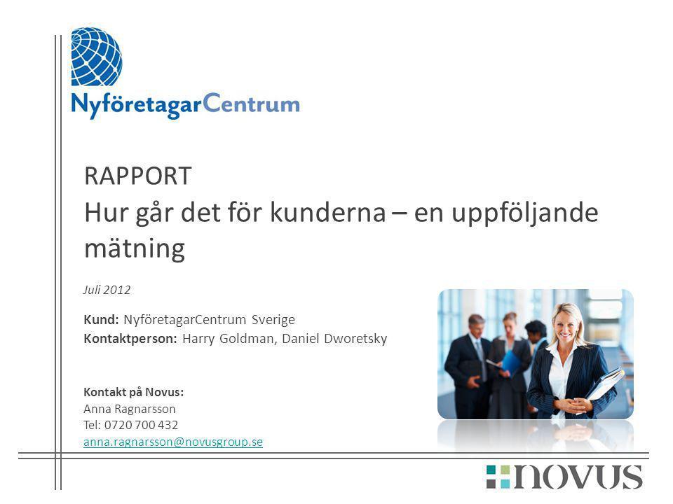 RAPPORT Hur går det för kunderna – en uppföljande mätning Juli 2012 Kund: NyföretagarCentrum Sverige Kontaktperson: Harry Goldman, Daniel Dworetsky Ko
