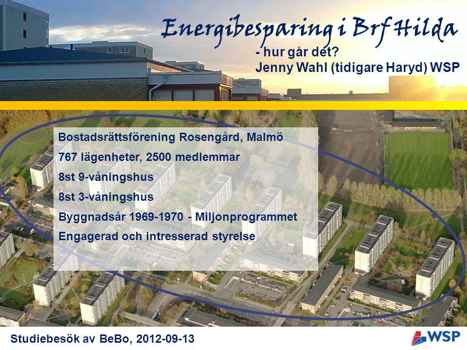 Energibesparing i Brf Hilda - hur går det? Jenny Wahl (tidigare Haryd) WSP Bostadsrättsförening Rosengård, Malmö 767 lägenheter, 2500 medlemmar 8st 9-