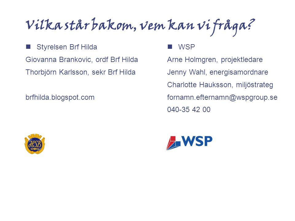 Vilka står bakom, vem kan vi fråga?  Styrelsen Brf Hilda Giovanna Brankovic, ordf Brf Hilda Thorbjörn Karlsson, sekr Brf Hilda brfhilda.blogspot.com