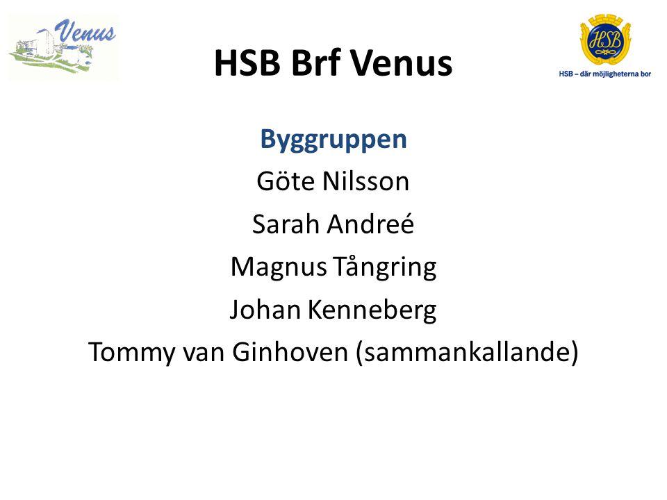 HSB Brf Venus Byggruppen Göte Nilsson Sarah Andreé Magnus Tångring Johan Kenneberg Tommy van Ginhoven (sammankallande)