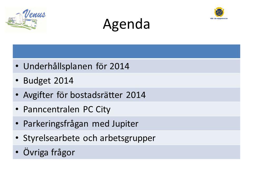 Agenda • Underhållsplanen för 2014 • Budget 2014 • Avgifter för bostadsrätter 2014 • Panncentralen PC City • Parkeringsfrågan med Jupiter • Styrelsearbete och arbetsgrupper • Övriga frågor