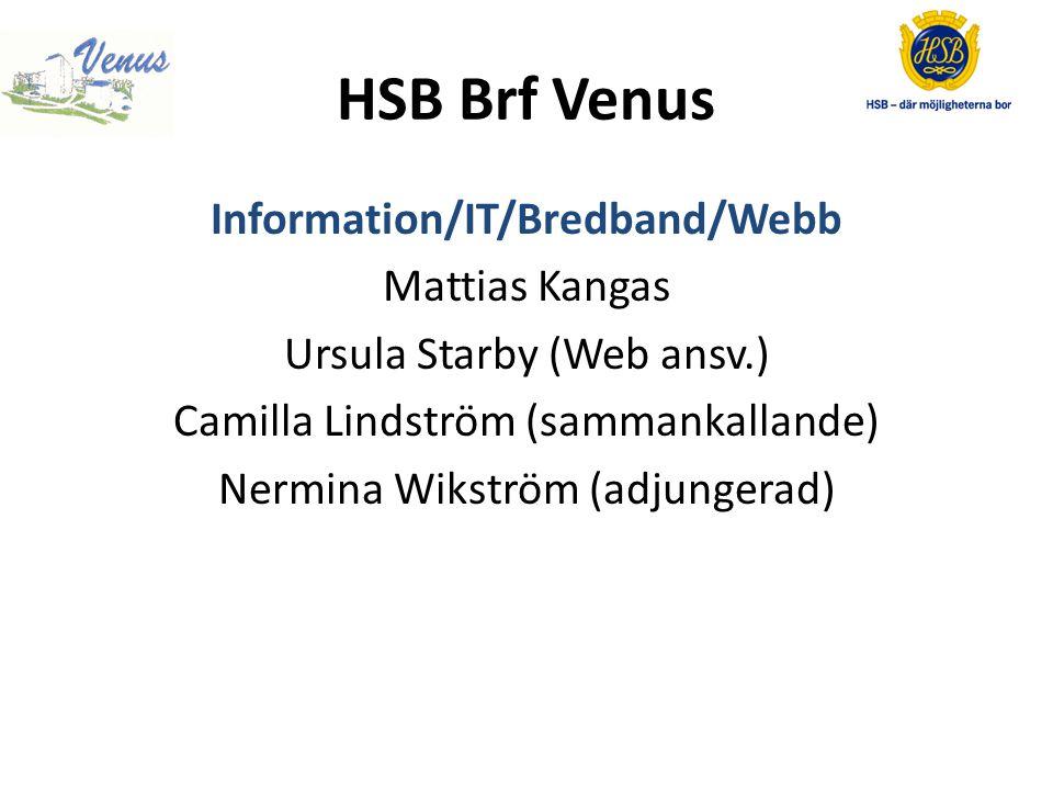 HSB Brf Venus Venus 2.0 Ursula Starby Mattias Kangas Johan Kenneberg Malin Koch (sammankallande) Venus 2.0 har till uppgift att hitta lösningar för att framtidssäkra Brf Venus, som möjlighet att boka tider i mobilen, nya tekniska lösningar m.m.