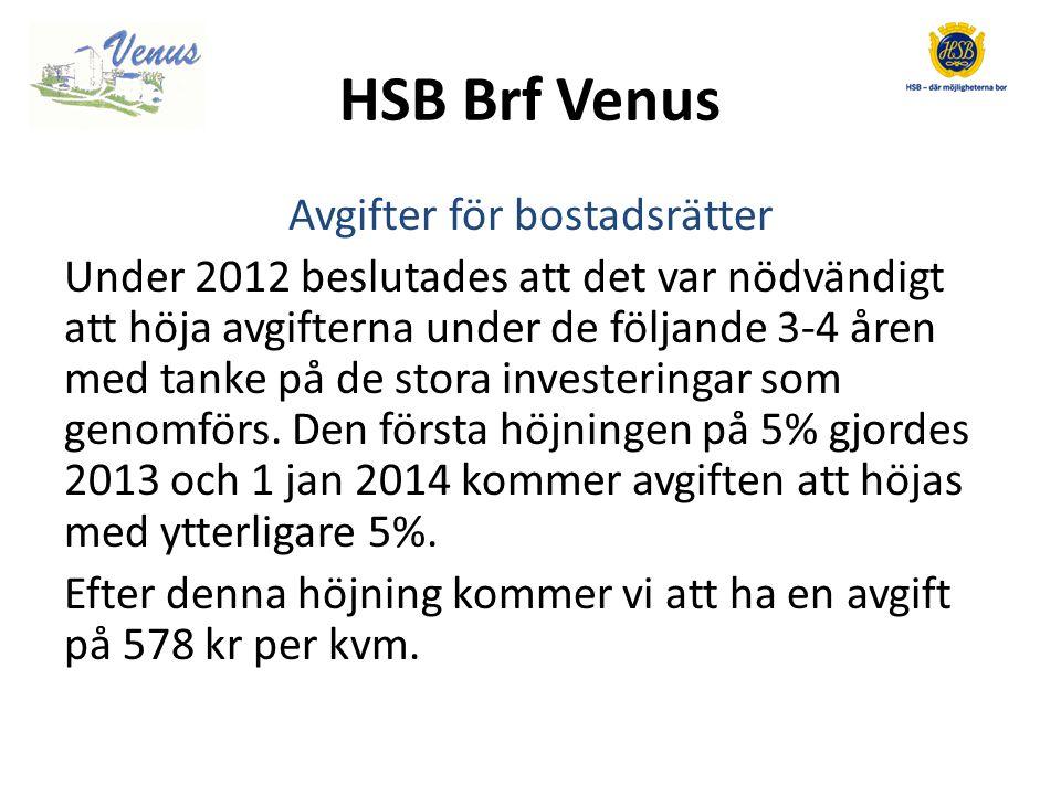 HSB Brf Venus Avgifter för bostadsrätter Under 2012 beslutades att det var nödvändigt att höja avgifterna under de följande 3-4 åren med tanke på de stora investeringar som genomförs.