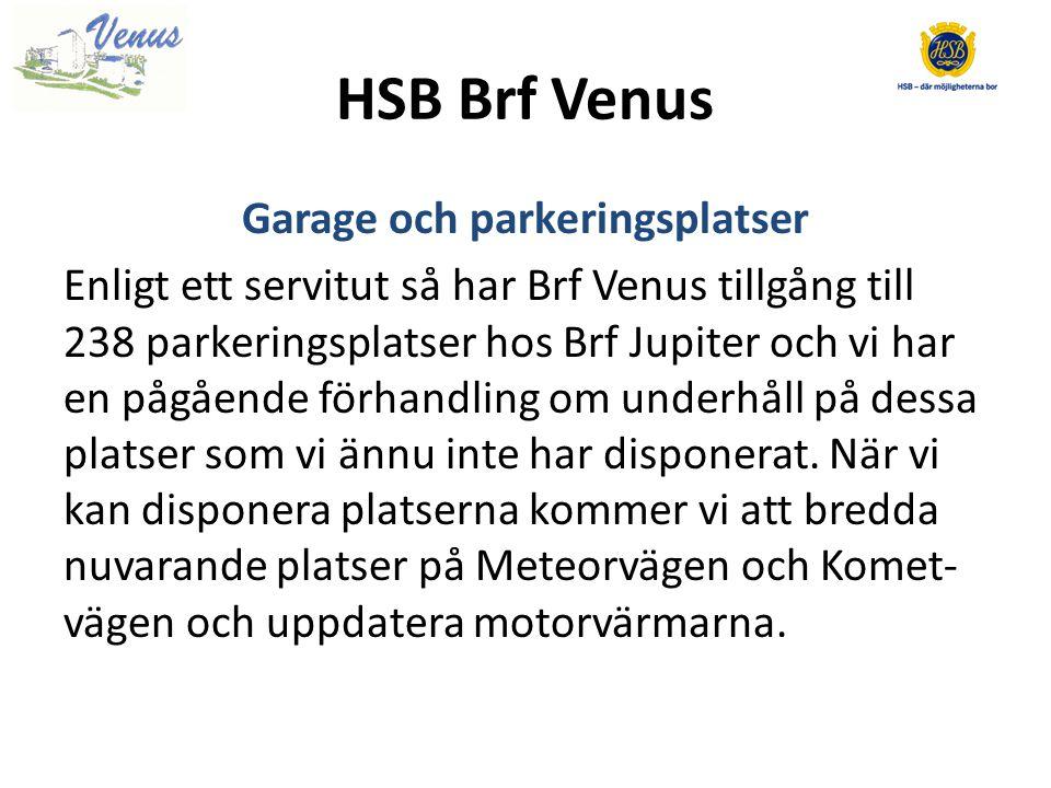 HSB Brf Venus Garage och parkeringsplatser Enligt ett servitut så har Brf Venus tillgång till 238 parkeringsplatser hos Brf Jupiter och vi har en pågående förhandling om underhåll på dessa platser som vi ännu inte har disponerat.