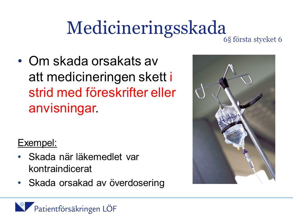 Medicineringsskada •Om skada orsakats av att medicineringen skett i strid med föreskrifter eller anvisningar. Exempel: •Skada när läkemedlet var kontr