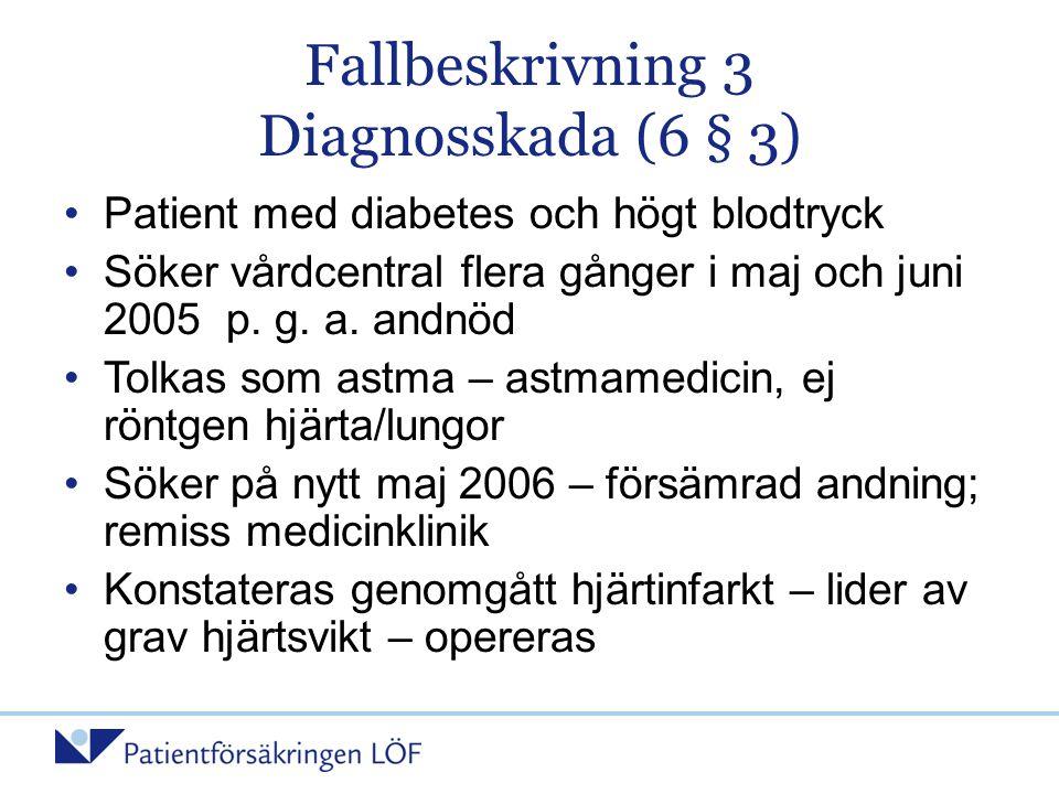 Fallbeskrivning 3 Diagnosskada (6 § 3) •Patient med diabetes och högt blodtryck •Söker vårdcentral flera gånger i maj och juni 2005 p. g. a. andnöd •T