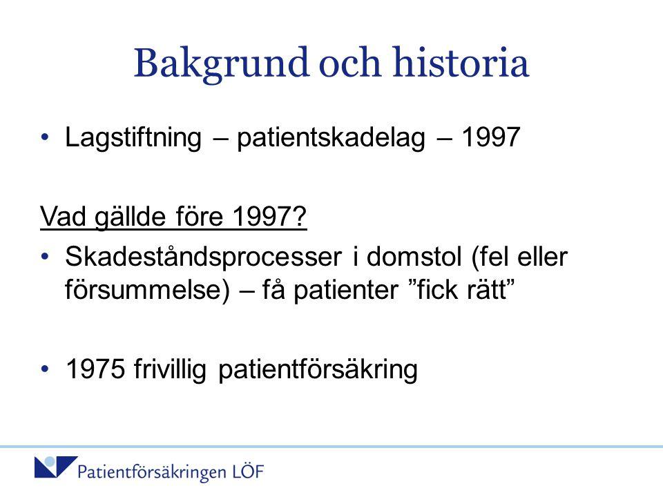 Bakgrund och historia •Lagstiftning – patientskadelag – 1997 Vad gällde före 1997? •Skadeståndsprocesser i domstol (fel eller försummelse) – få patien