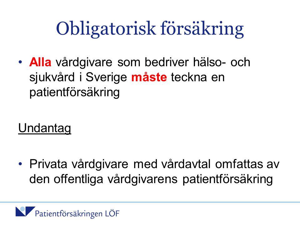Obligatorisk försäkring •Alla vårdgivare som bedriver hälso- och sjukvård i Sverige måste teckna en patientförsäkring Undantag •Privata vårdgivare med