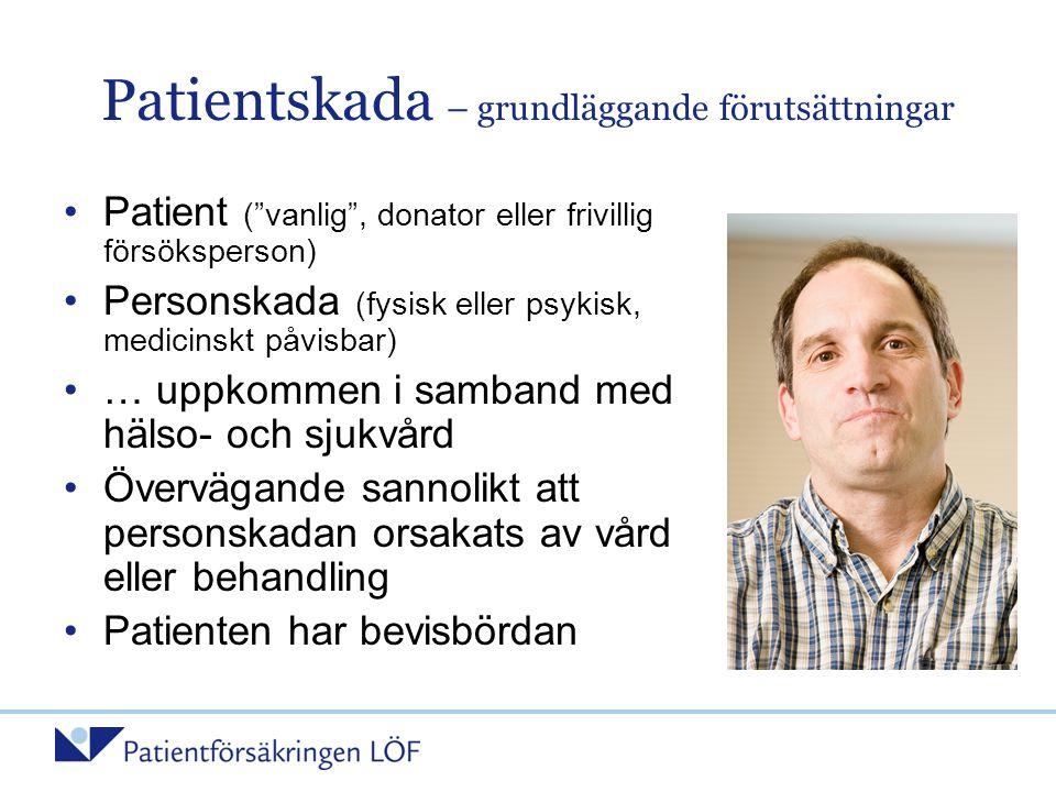 """Patientskada – grundläggande förutsättningar •Patient (""""vanlig"""", donator eller frivillig försöksperson) •Personskada (fysisk eller psykisk, medicinskt"""