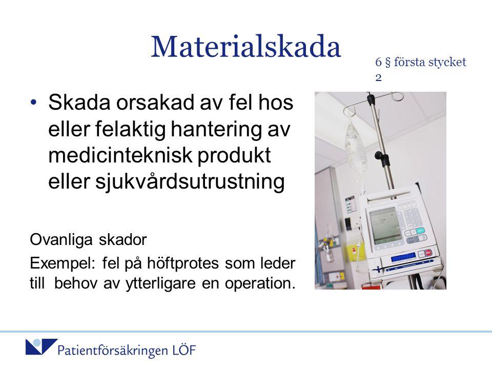 Materialskada •Skada orsakad av fel hos eller felaktig hantering av medicinteknisk produkt eller sjukvårdsutrustning Ovanliga skador Exempel: fel på h