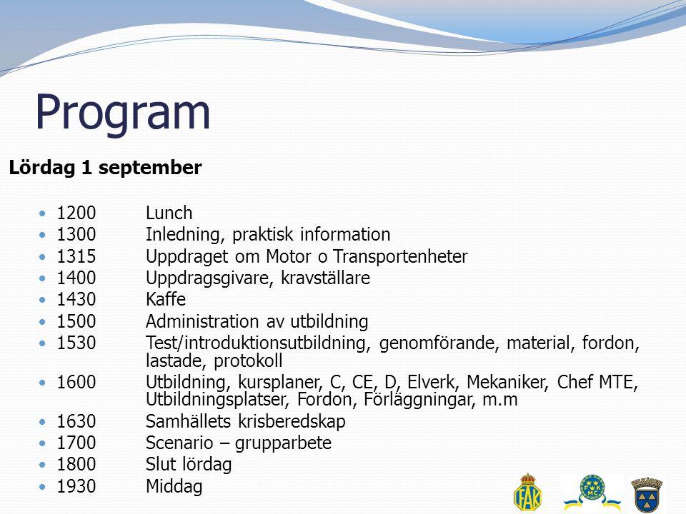 Program Lördag 1 september  1200 Lunch  1300 Inledning, praktisk information  1315Uppdraget om Motor o Transportenheter  1400Uppdragsgivare, kravs