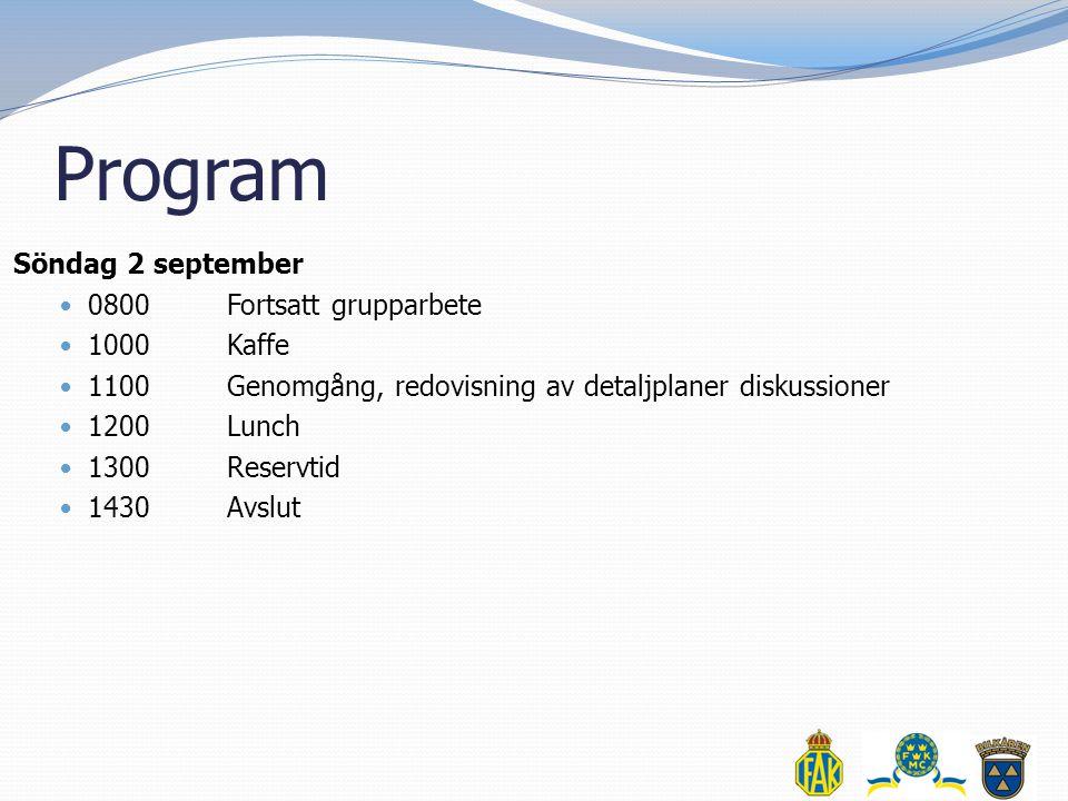 Program Söndag 2 september  0800Fortsatt grupparbete  1000Kaffe  1100Genomgång, redovisning av detaljplaner diskussioner  1200Lunch  1300Reservtid  1430Avslut