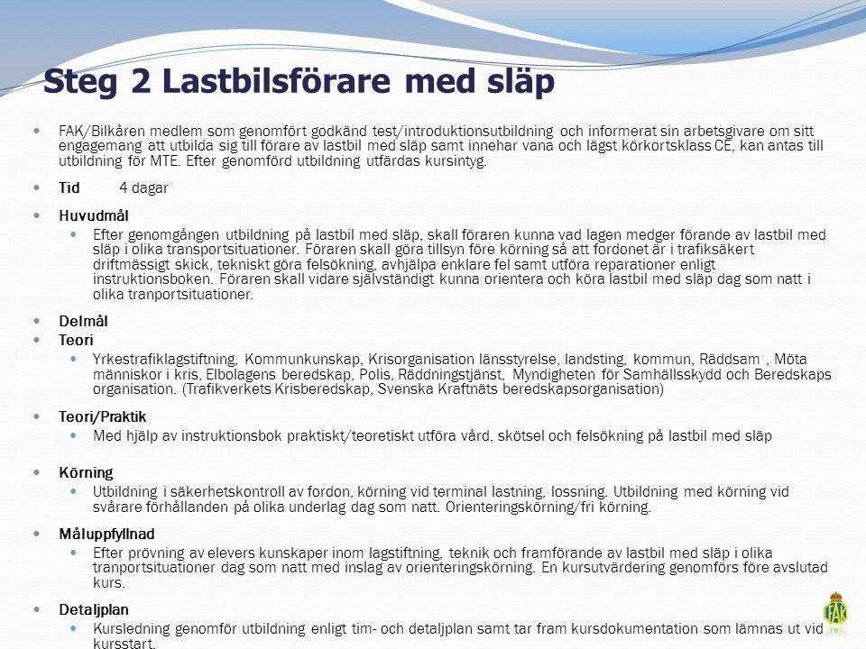 Steg 2 Lastbilsförare med släp  FAK/Bilkåren medlem som genomfört godkänd test/introduktionsutbildning och informerat sin arbetsgivare om sitt engage