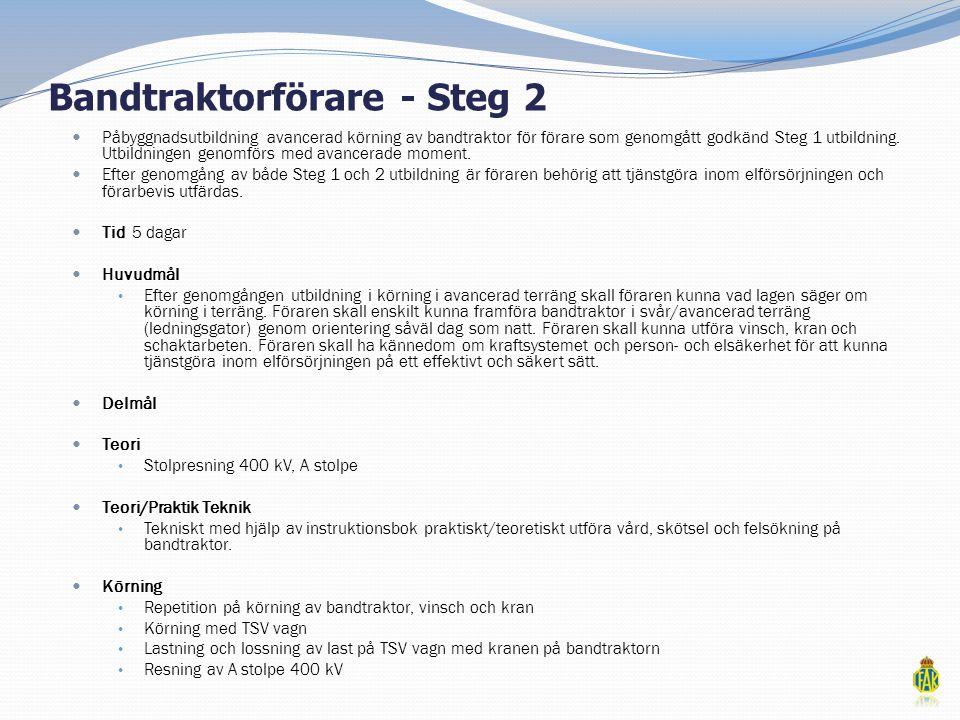Bandtraktorförare - Steg 2  Påbyggnadsutbildning avancerad körning av bandtraktor för förare som genomgått godkänd Steg 1 utbildning. Utbildningen ge