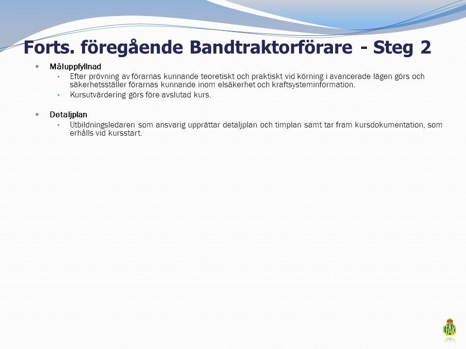 Forts. föregående Bandtraktorförare - Steg 2  Måluppfyllnad • Efter prövning av förarnas kunnande teoretiskt och praktiskt vid körning i avancerade l