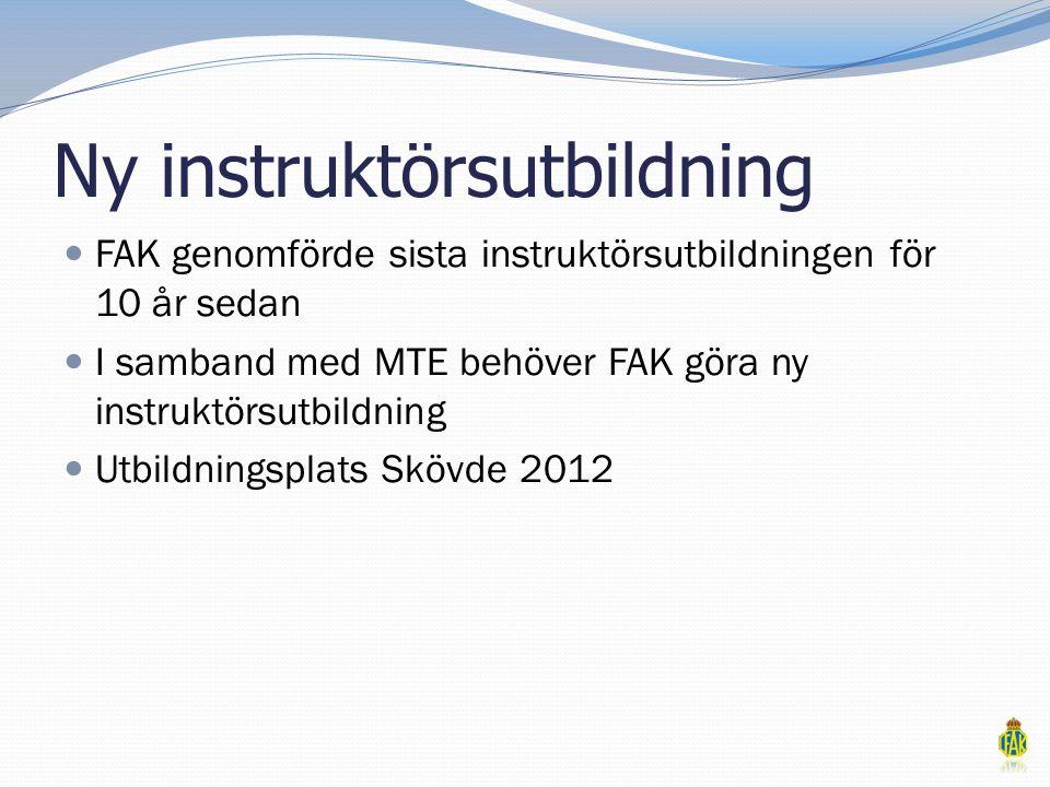 Ny instruktörsutbildning  FAK genomförde sista instruktörsutbildningen för 10 år sedan  I samband med MTE behöver FAK göra ny instruktörsutbildning  Utbildningsplats Skövde 2012