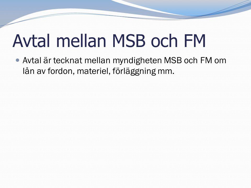 Avtal mellan MSB och FM  Avtal är tecknat mellan myndigheten MSB och FM om lån av fordon, materiel, förläggning mm.
