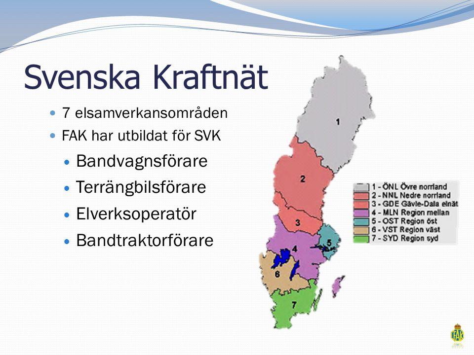 Svenska Kraftnät  7 elsamverkansområden  FAK har utbildat för SVK  Bandvagnsförare  Terrängbilsförare  Elverksoperatör  Bandtraktorförare