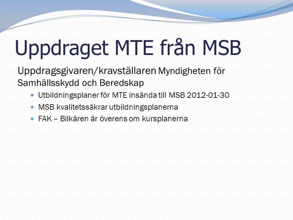 Uppdraget MTE från MSB Uppdragsgivaren/kravställaren Myndigheten för Samhällsskydd och Beredskap  Utbildningsplaner för MTE insända till MSB 2012-01-