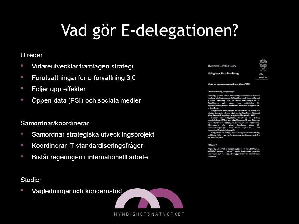 Vad gör E-delegationen? Utreder • Vidareutvecklar framtagen strategi • Förutsättningar för e-förvaltning 3.0 • Följer upp effekter • Öppen data (PSI)
