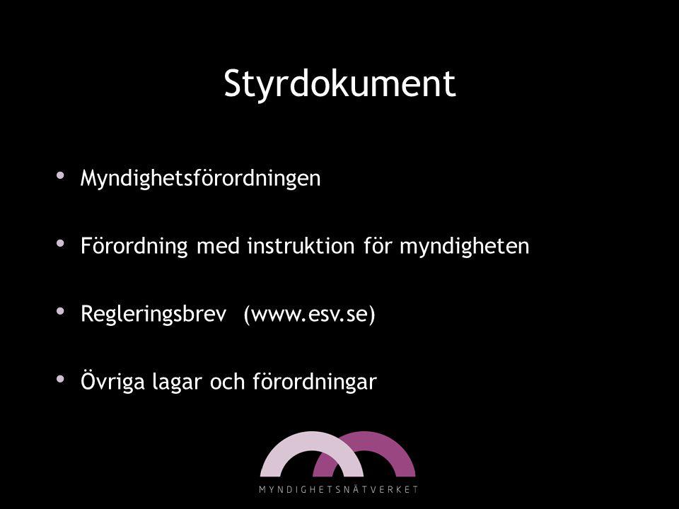 Styrdokument • Myndighetsförordningen • Förordning med instruktion för myndigheten • Regleringsbrev (www.esv.se) • Övriga lagar och förordningar