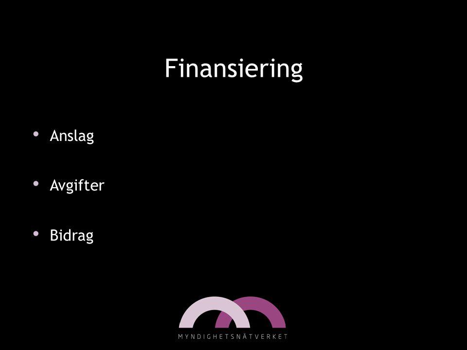 Finansiering • Anslag • Avgifter • Bidrag