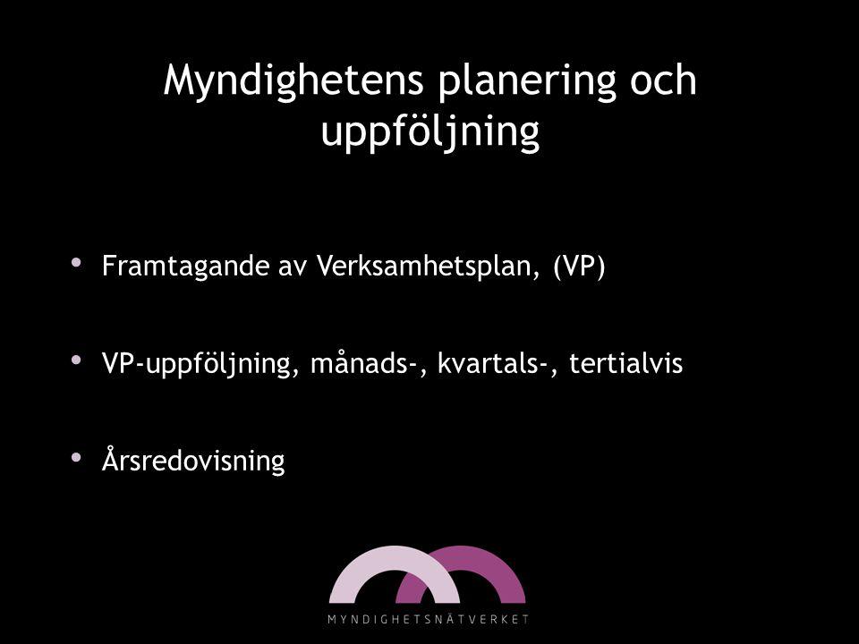 Myndighetens planering och uppföljning • Framtagande av Verksamhetsplan, (VP) • VP-uppföljning, månads-, kvartals-, tertialvis • Årsredovisning