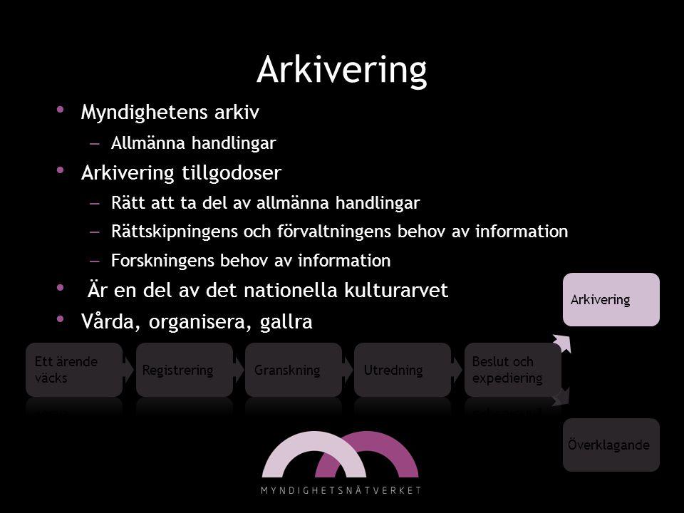 Arkivering • Myndighetens arkiv – Allmänna handlingar • Arkivering tillgodoser – Rätt att ta del av allmänna handlingar – Rättskipningens och förvaltn