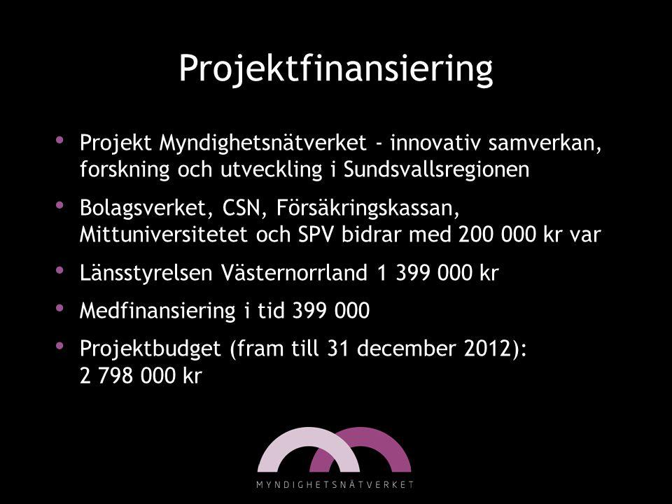 Projektfinansiering • Projekt Myndighetsnätverket - innovativ samverkan, forskning och utveckling i Sundsvallsregionen • Bolagsverket, CSN, Försäkring
