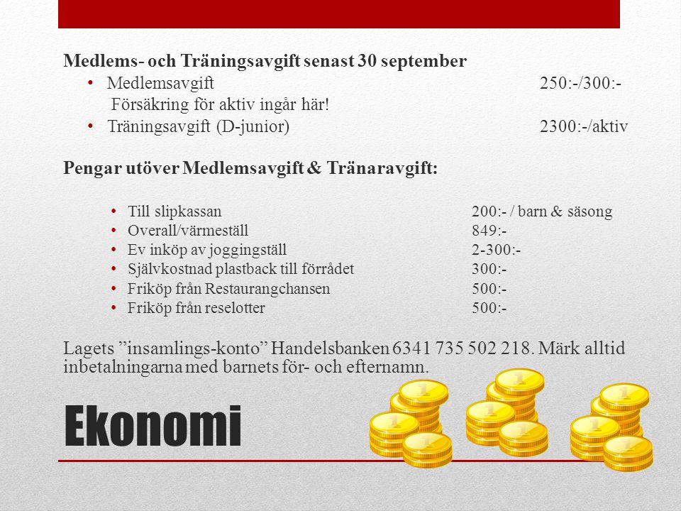 Ekonomi Medlems- och Träningsavgift senast 30 september • Medlemsavgift 250:-/300:- Försäkring för aktiv ingår här! • Träningsavgift (D-junior)2300:-/