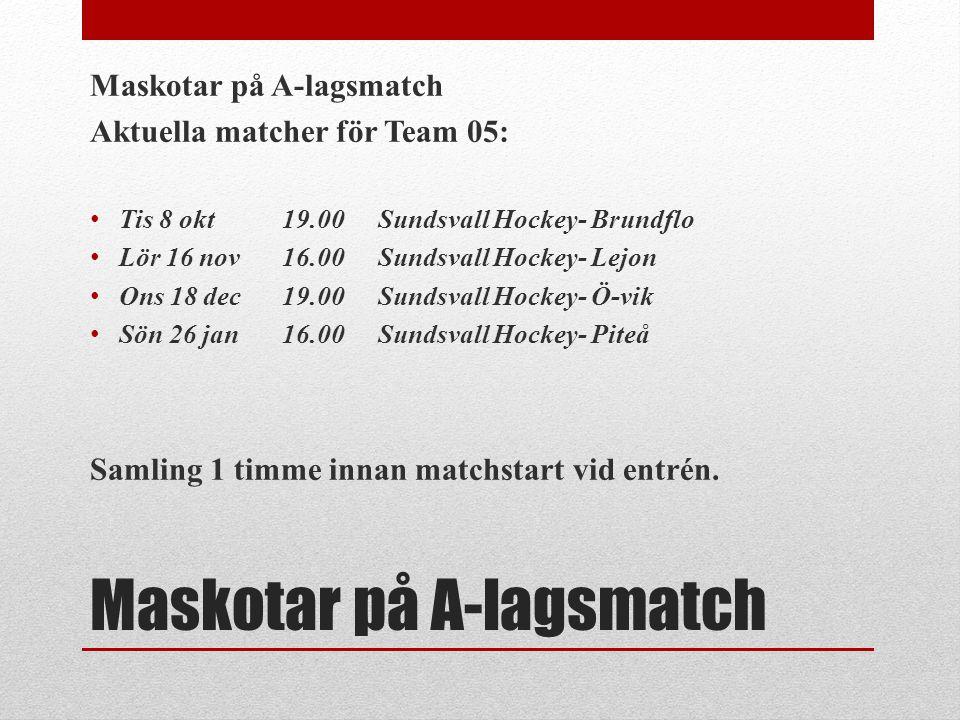 Maskotar på A-lagsmatch Aktuella matcher för Team 05: • Tis 8 okt19.00Sundsvall Hockey- Brundflo • Lör 16 nov16.00Sundsvall Hockey- Lejon • Ons 18 dec