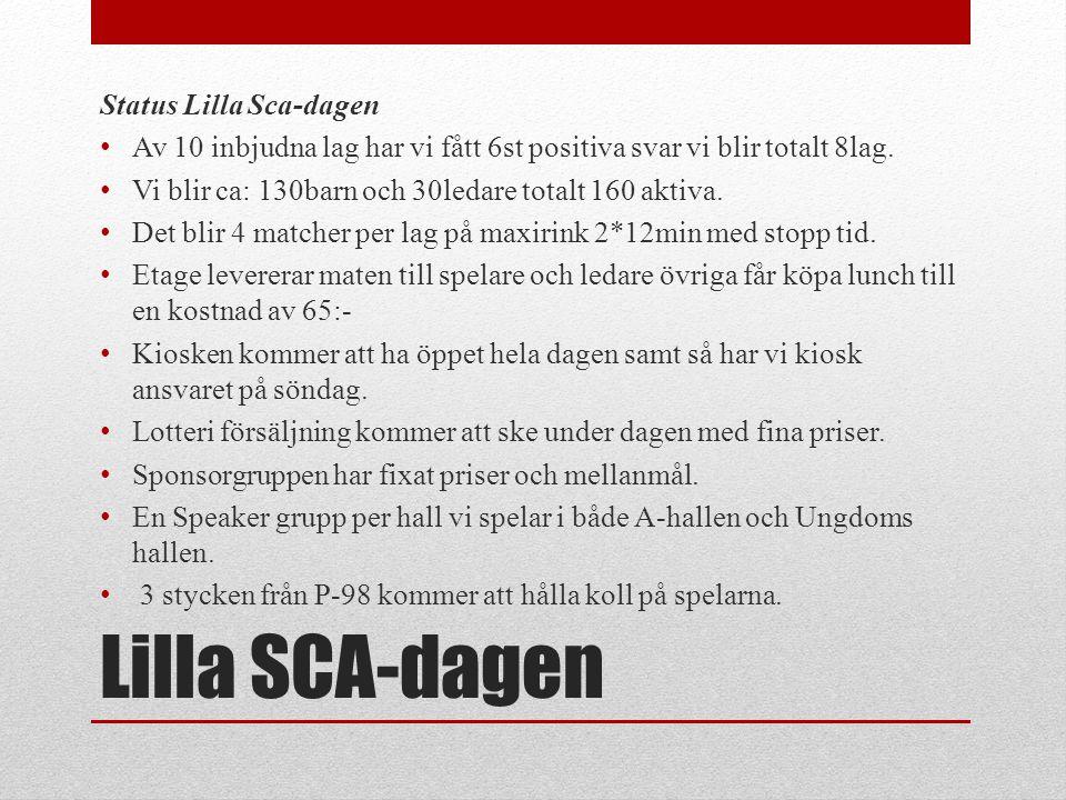 Lilla SCA-dagen Status Lilla Sca-dagen • Av 10 inbjudna lag har vi fått 6st positiva svar vi blir totalt 8lag. • Vi blir ca: 130barn och 30ledare tota