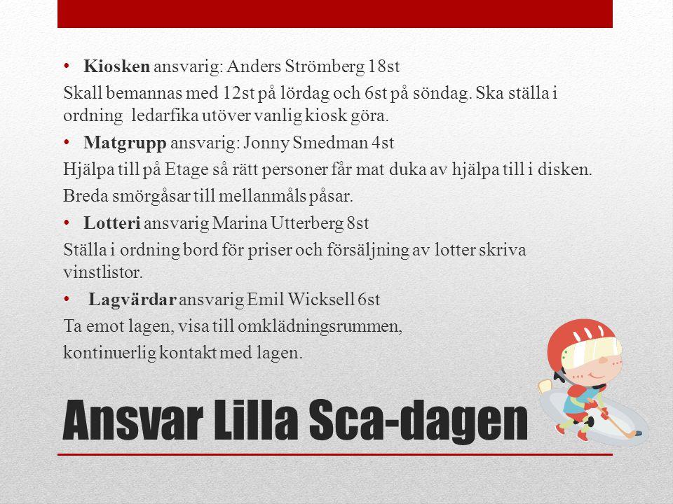 Ansvar Lilla Sca-dagen • Kiosken ansvarig: Anders Strömberg 18st Skall bemannas med 12st på lördag och 6st på söndag. Ska ställa i ordning ledarfika u