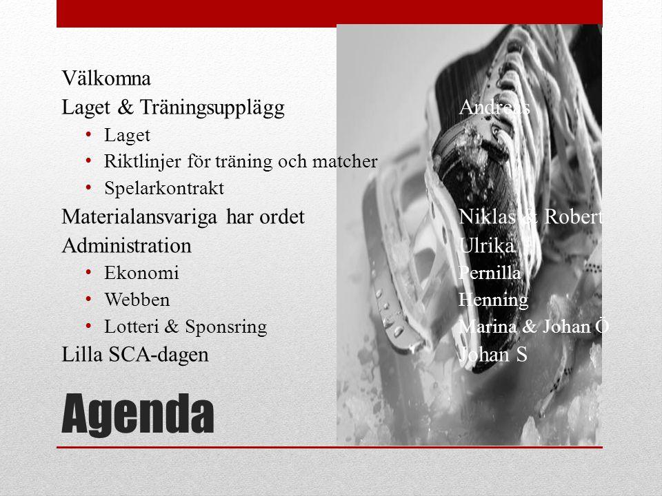 Agenda Välkomna Laget & Träningsupplägg Andreas • Laget • Riktlinjer för träning och matcher • Spelarkontrakt Materialansvariga har ordet Niklas & Rob