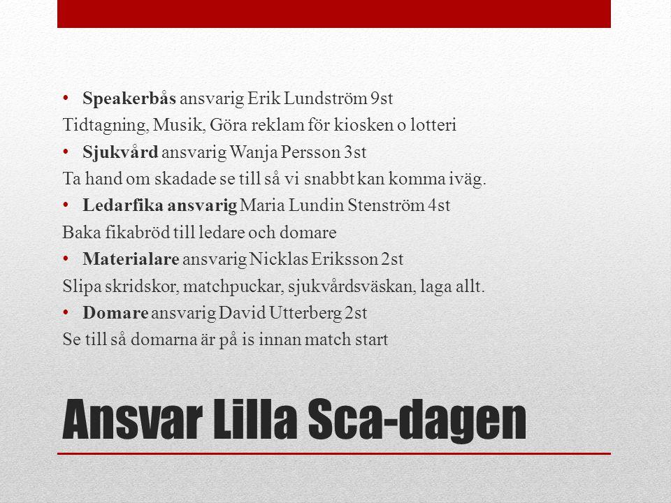 Ansvar Lilla Sca-dagen • Speakerbås ansvarig Erik Lundström 9st Tidtagning, Musik, Göra reklam för kiosken o lotteri • Sjukvård ansvarig Wanja Persson
