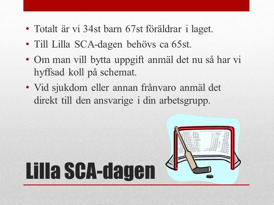 Lilla SCA-dagen • Totalt är vi 34st barn 67st föräldrar i laget. • Till Lilla SCA-dagen behövs ca 65st. • Om man vill bytta uppgift anmäl det nu så ha
