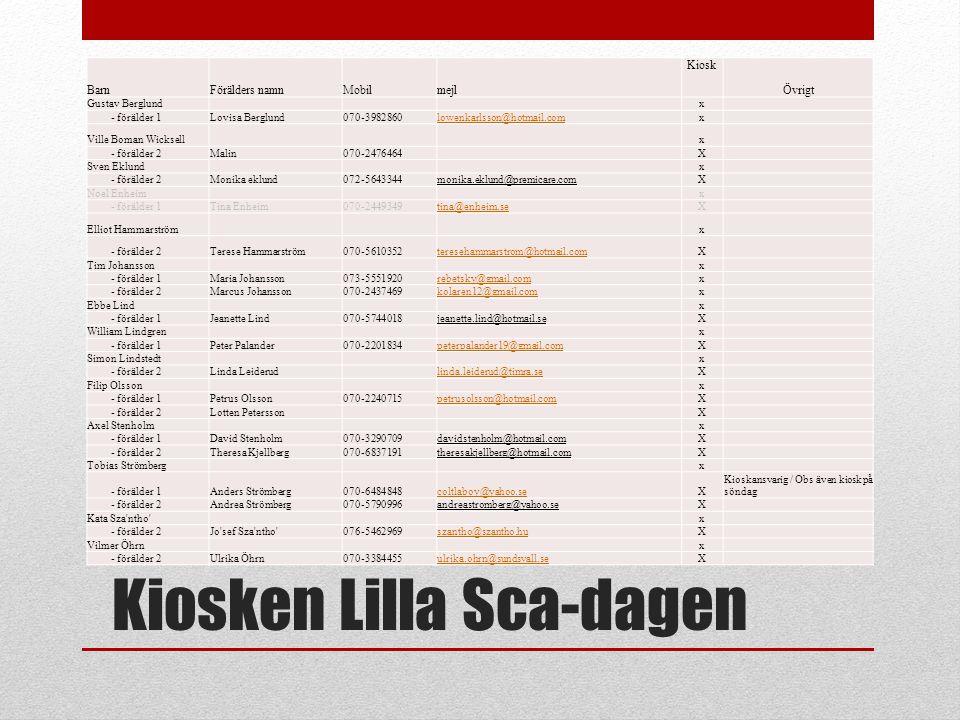 Kiosken Lilla Sca-dagen BarnFörälders namnMobilmejl Kiosk Övrigt Gustav Berglund x - förälder 1Lovisa Berglund070-3982860lowenkarlsson@hotmail.comx Vi
