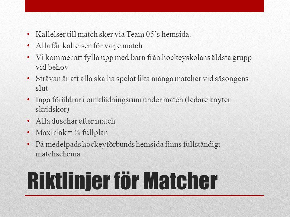 Riktlinjer för Matcher • Kallelser till match sker via Team 05's hemsida. • Alla får kallelsen för varje match • Vi kommer att fylla upp med barn från
