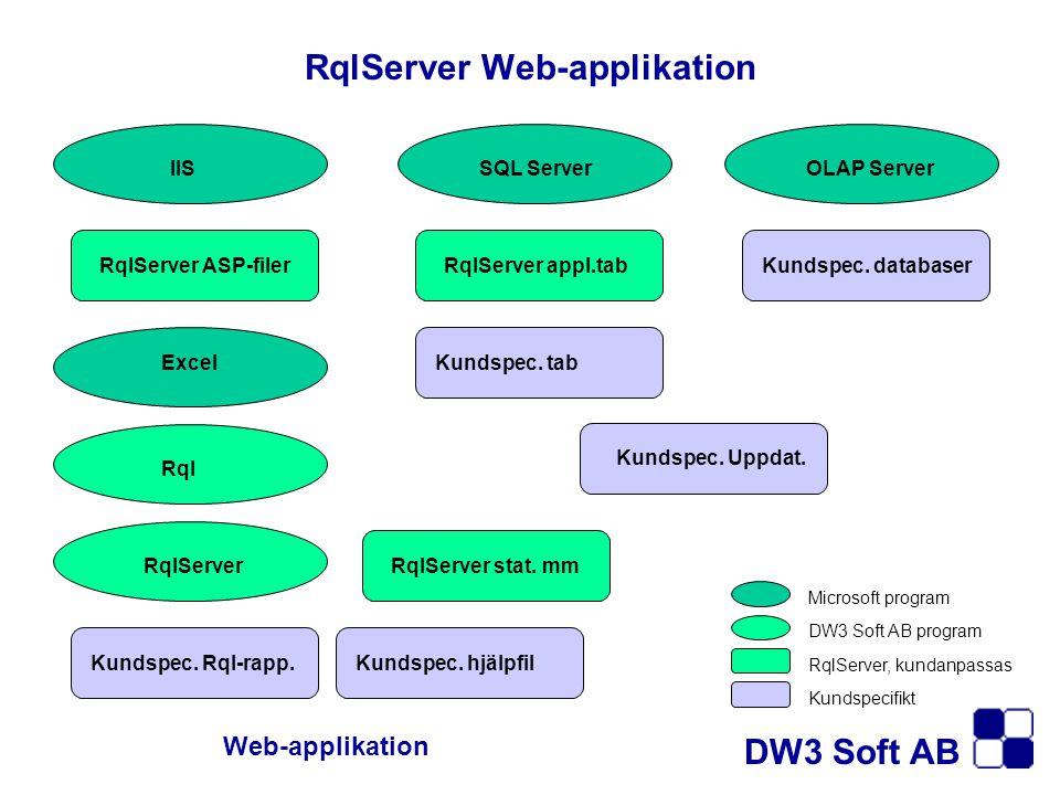 IISSQL ServerOLAP Server Excel Rql RqlServer RqlServer ASP-filerRqlServer appl.tab Kundspec. tab Kundspec. databaser Kundspec. Uppdat. RqlServer stat.