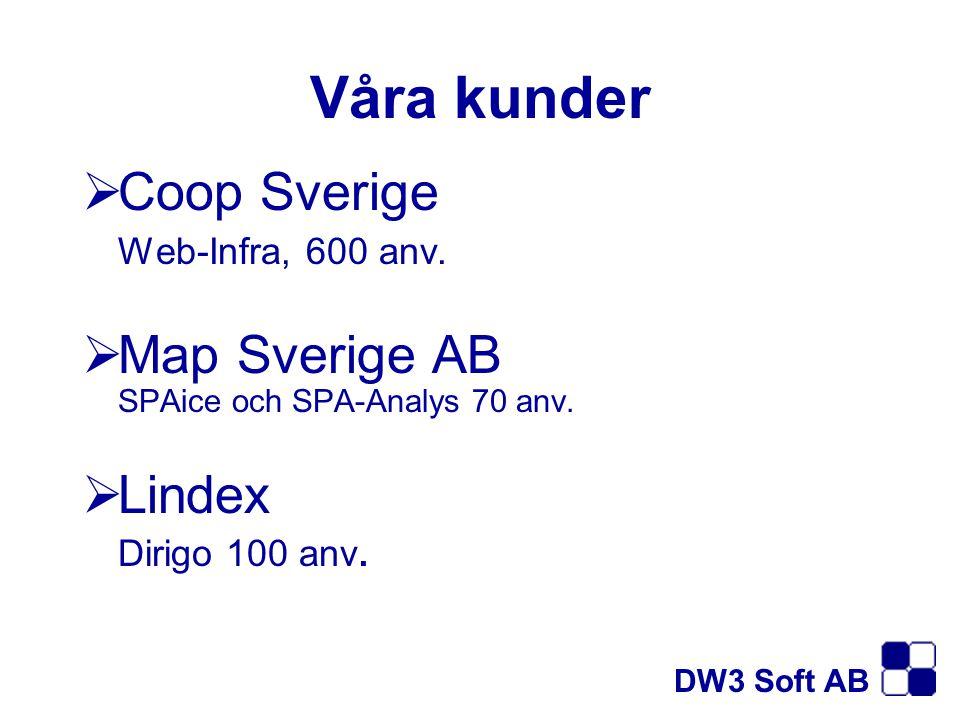 Våra kunder  Coop Sverige Web-Infra, 600 anv.  Map Sverige AB SPAice och SPA-Analys 70 anv.  Lindex Dirigo 100 anv. DW3 Soft AB
