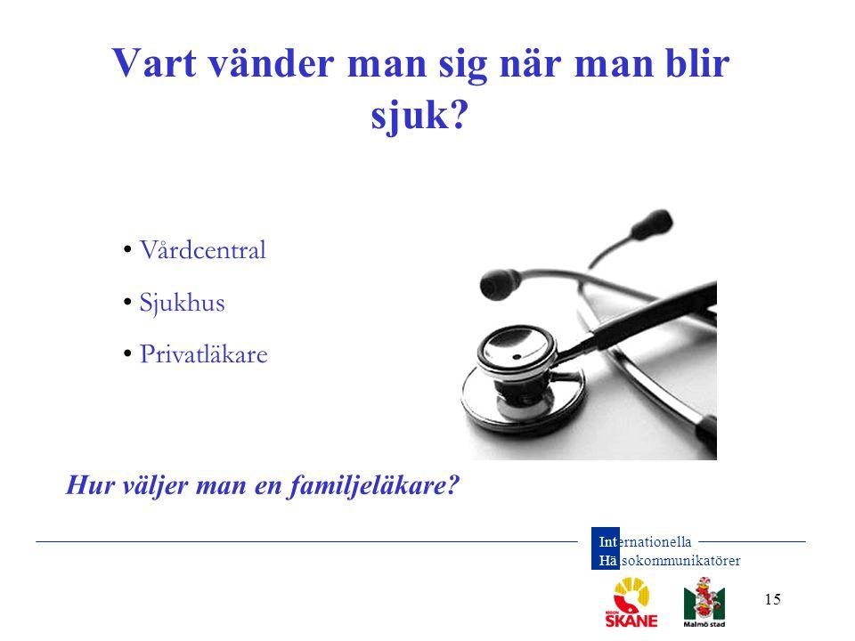 Internationella Hälsokommunikatörer 15 Vart vänder man sig när man blir sjuk? • Vårdcentral • Sjukhus • Privatläkare Hur väljer man en familjeläkare?