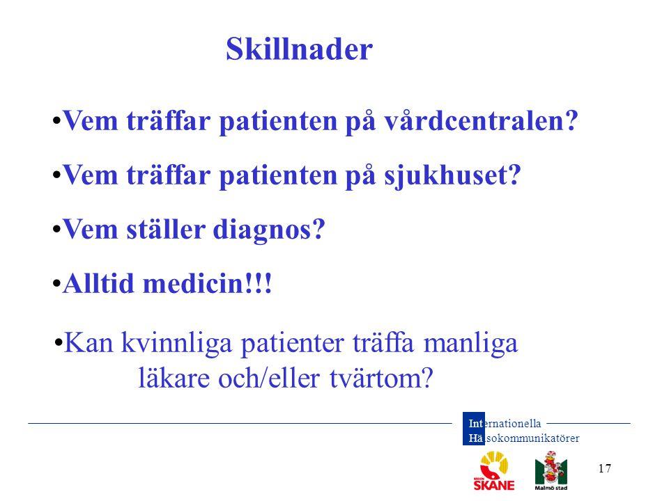 Internationella Hälsokommunikatörer 17 • Vem träffar patienten på vårdcentralen? • Vem träffar patienten på sjukhuset? • Vem ställer diagnos? • Alltid