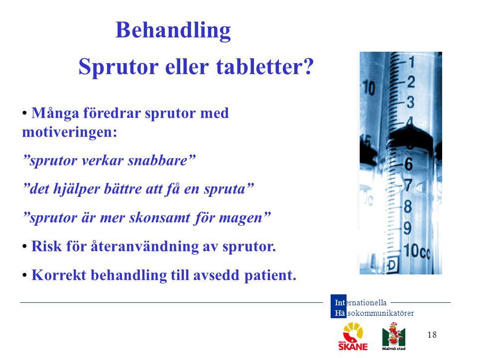 """Internationella Hälsokommunikatörer 18 Behandling • Många föredrar sprutor med motiveringen: """"sprutor verkar snabbare"""" """"det hjälper bättre att få en s"""