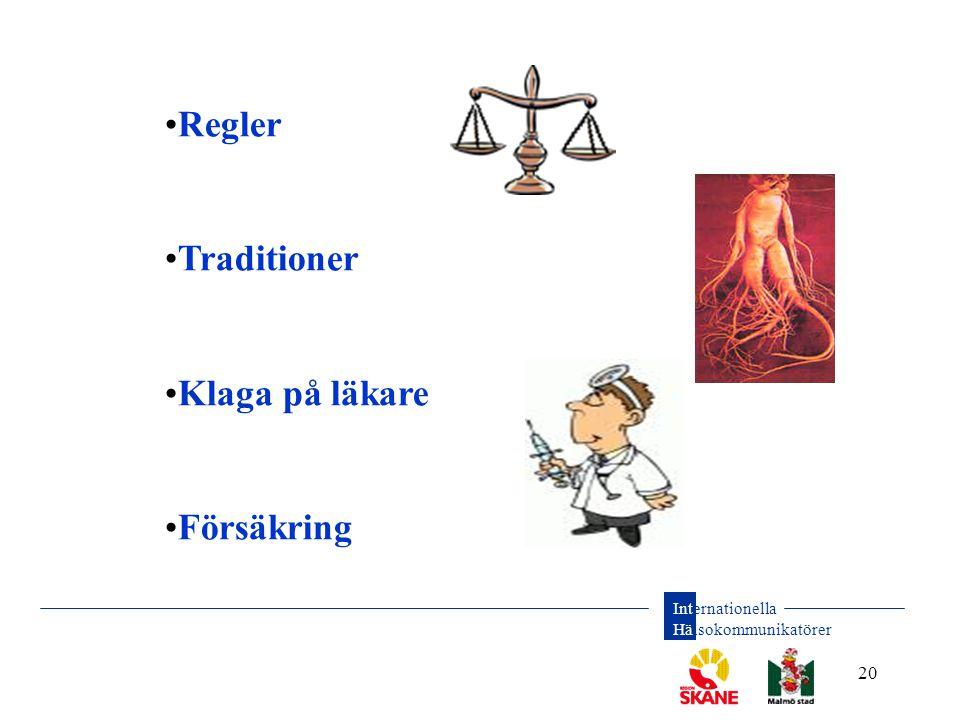 Internationella Hälsokommunikatörer 20 •Regler •Traditioner •Klaga på läkare •Försäkring