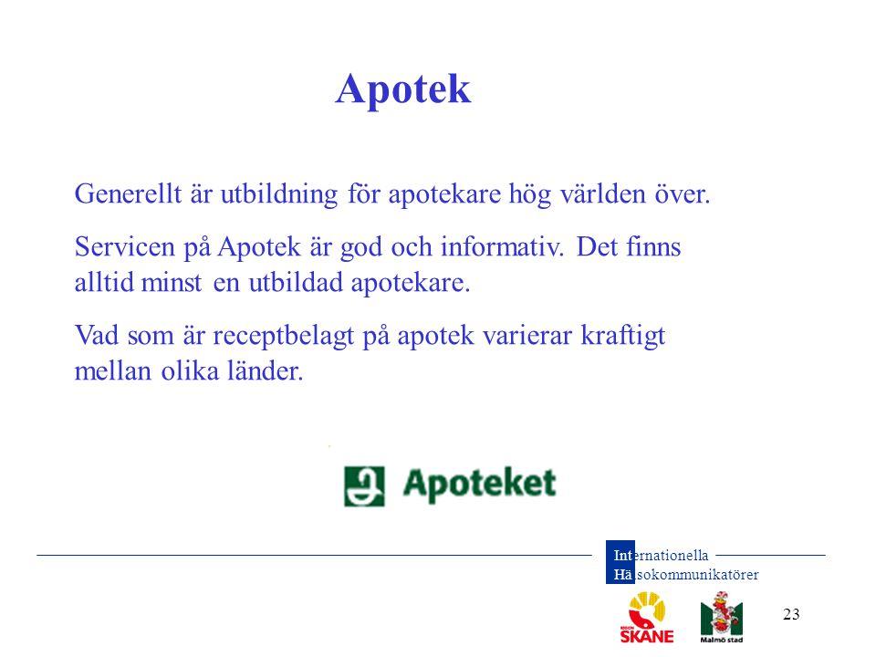 Internationella Hälsokommunikatörer 23 Apotek Generellt är utbildning för apotekare hög världen över. Servicen på Apotek är god och informativ. Det fi