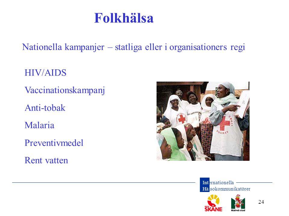 Internationella Hälsokommunikatörer 24 Folkhälsa Nationella kampanjer – statliga eller i organisationers regi HIV/AIDS Vaccinationskampanj Anti-tobak