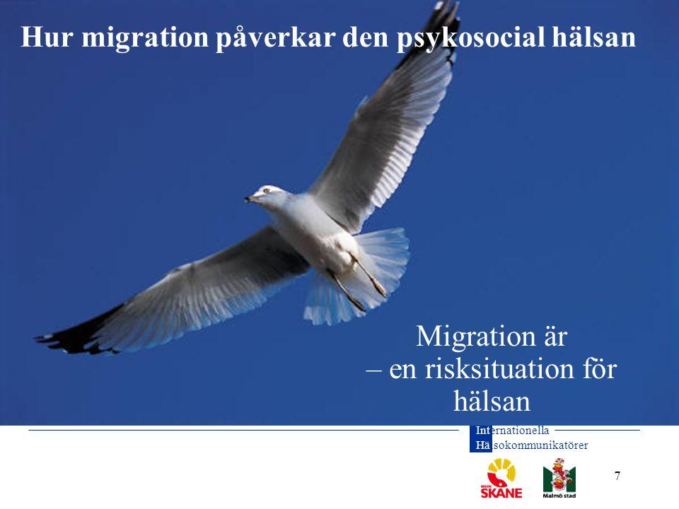 Internationella Hälsokommunikatörer 8 Migrationsprocessens faser Risksituation för hälsan Hemlandet Flykten/flytten Ny i Sverige Politiskt våld, förföljelse, krig, tortyr, giftermål etc.