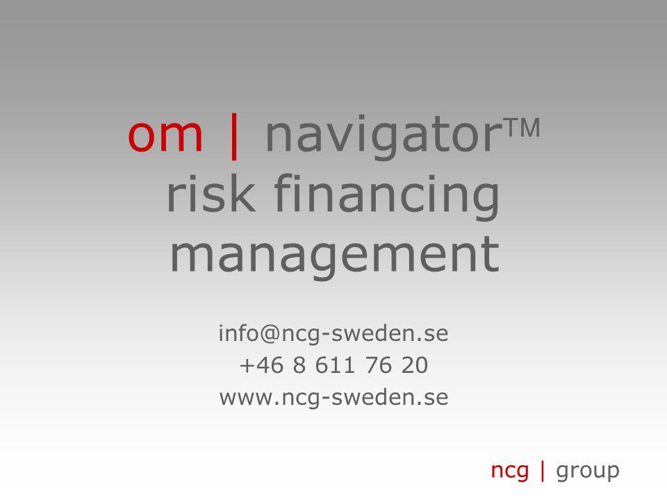 ncg | group företagskrav • strategiskt verktyg för säkerställandet av företagets korrekta riskfinansiering • extrahering av information för ledningsrapportering • förenkling av riskbedömning med ackumulerade risker • systematisering av riskfinansieringsinstrumenten • stöd för i stort sätt alla typer av industrier • underhåll av samtlig relevant riskinformation • verktyg som kan påverka och förbättra lönsamheten • register över tillgångar och teknisk nyckelinformation • säkerhetsanalys och finansiell värdering av leverantörer • verktyg som stödjer värdekedjan och kvalitetsstyrning om | vad?