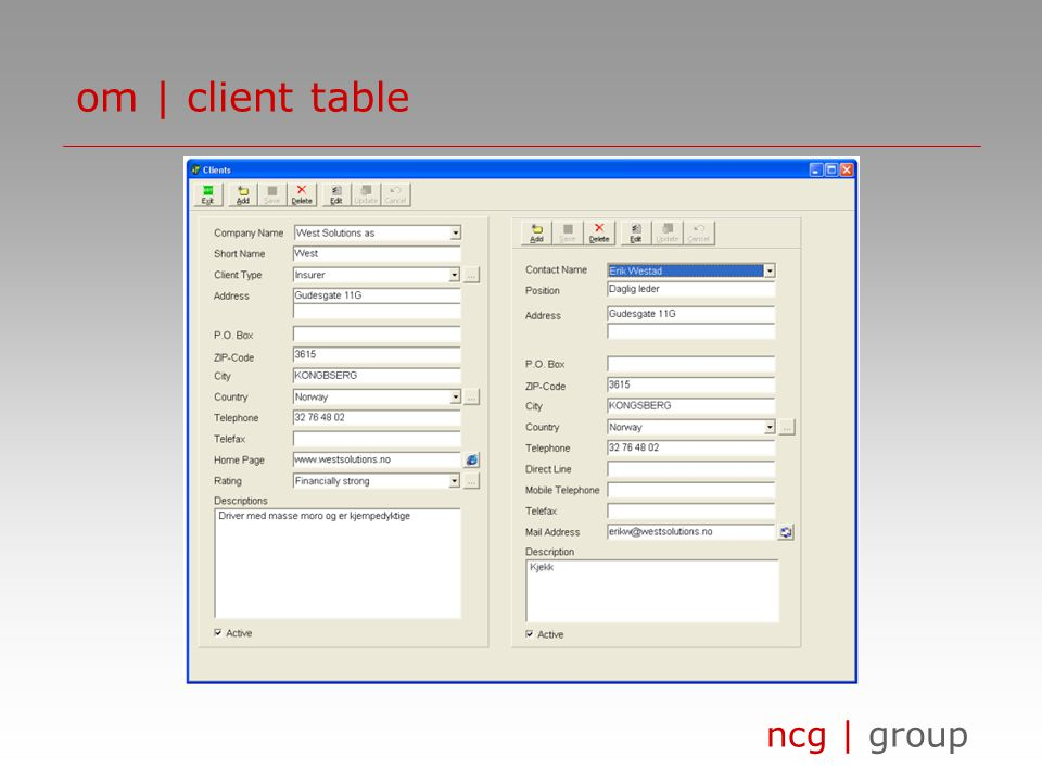 ncg | group om | client table
