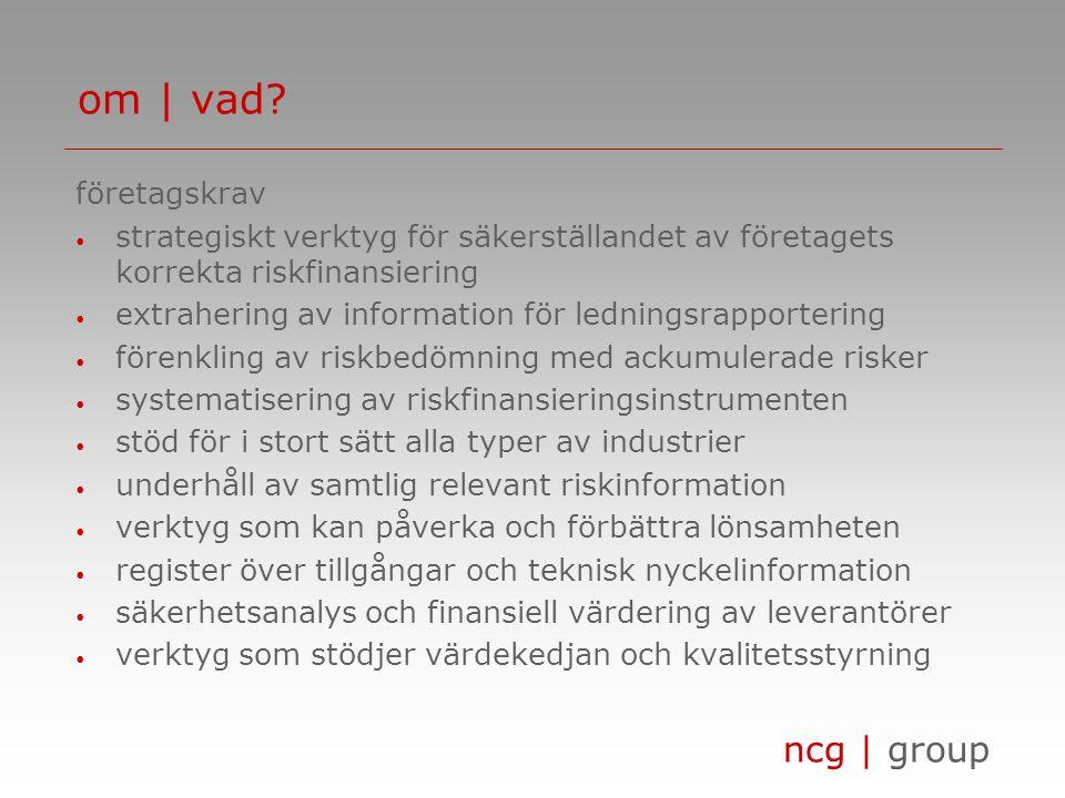 ncg | group företagskrav • strategiskt verktyg för säkerställandet av företagets korrekta riskfinansiering • extrahering av information för ledningsra